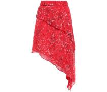 Asymmetric Floral-print Georgette Mini Skirt Red