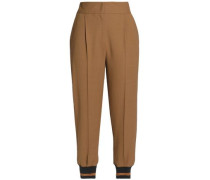 Cropped pleated wool-blend tapered pants