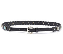 Cora Studded Scalloped Leather Belt Black