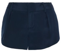 Butterfly Pleated Silk-satin Shorts Navy Size 12