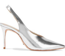 Phisalis mirrored-leather slingback pumps