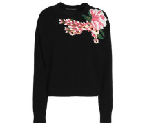 Floral-appliquéd wool and cashmere-blend sweater