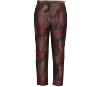 Cropped Jacquard Tapered Pants Merlot