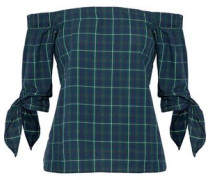 Off-the-shoulder knotted checked cotton top