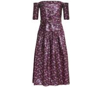 Off-the-shoulder brocade midi dress