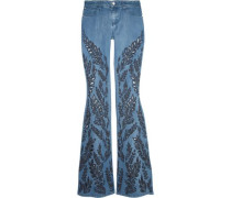 Ryley low-rise broderie anglaise-trimmed flared jeans