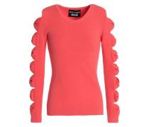 Cutout Stretch-knit Sweater Coral