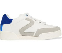 Faux suede-trimmed faux leather sneakers