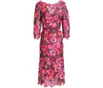 Appliquéd metallic guipure lace midi dress