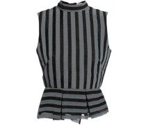 Striped Organza Peplum Top Gray Size 14