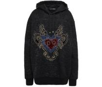 Woman Embellished Cotton-blend Jacquard Hoodie Black