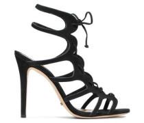 Laurine lace-up cutout nubuck sandals
