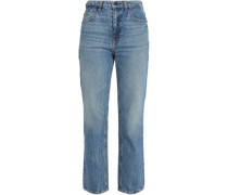 Faded High-rise Straight-leg Jeans Mid Denim  7