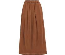 Gathered Crinkled Cotton-gauze Midi Skirt Light Brown