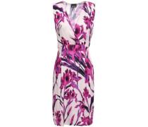 Wrap-effect Floral-print Cady Mini Dress Pastel Pink