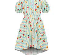 Bardot Off-the-shoulder Printed Stretch-cotton Poplin Mini Dress Sky Blue