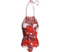 Macramé-paneled printed halterneck swimsuit