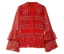 Pussy-bow Printed Silk-georgette Blouse Red