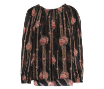 Gathered floral-print chiffon blouse