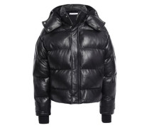 Collyn Quilted Leather Hooded Coat Black