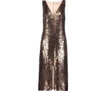 Metallic sequinned crepe dress