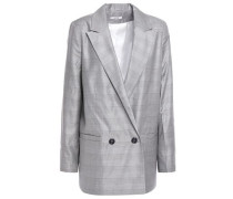 Woman Double-breasted Checked Silk And Wool-blend Blazer Gray