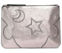 Solstice Metallic Cracked-leather Pouch Silver Size --
