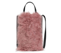 Walker Paneled Suede And Shearling Shoulder Bag Antique Rose Size --
