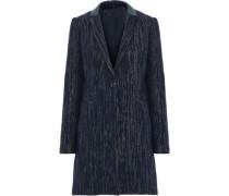 Pam iridescent leather-trimmed metallic felt coat