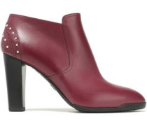 Studded Leather Ankle Boots Crimson