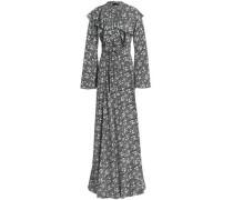 Ruffled floral-print silk maxi wrap dress