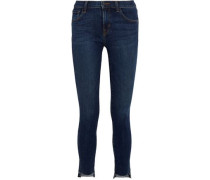 811 cropped stretch frayed mid-rise skinny jeans