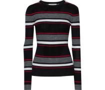 Striped Ribbed Merino Wool-blend Sweater Black