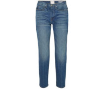 Woman Le High Cropped High-rise Straight-leg Jeans Mid Denim