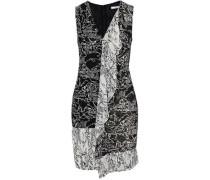 Pleated printed ruffle-trimmed chiffon mini dress