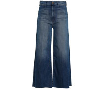 Cropped Faded High-rise Wide-leg Jeans Mid Denim  4