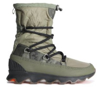 Whitney Leather-trimmed Shell Snow Boots Army Green