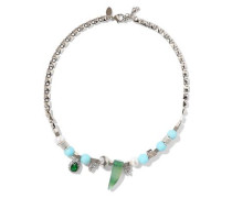 Gold-tone Bead, Crystal, Stone And Faux Pearl Necklace Multicolor Size --