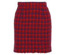 Quisera Frayed Metallic Houndstooth Bouclé Mini Skirt Red