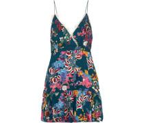 Ani Lace-trimmed Fil Coupé Chiffon Mini Dress Teal