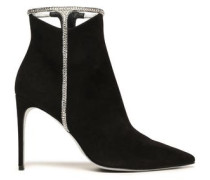 Woman Crystal-embellished Cutout Suede Ankle Boots Black