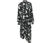 Bonna Asymmetric Floral-print Crepe De Chine Midi Dress Black