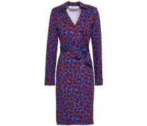 Printed Silk And Cotton-blend Jersey Wrap Dress Cobalt Blue Size 0