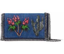 Embroidered chain-embellished denim shoulder bag