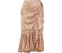 The Miley Ruffled Polka-dot Silk-charmeuse Wrap Skirt Neutral