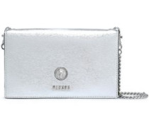 Metallic Textured-leather Clutch Silver Size --