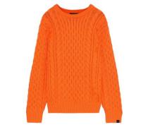 Aran Cable-knit Merino Wool-blend Sweater Orange