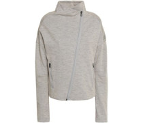 Mélange Cotton-blend Jersey Track Jacket Stone