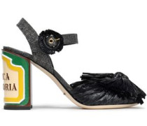 Keira Bow-embellished Woven Straw And Raffia Sandals Black