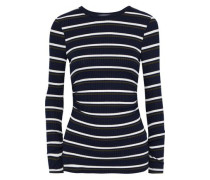 Ruched Striped Ribbed-knit Top Navy